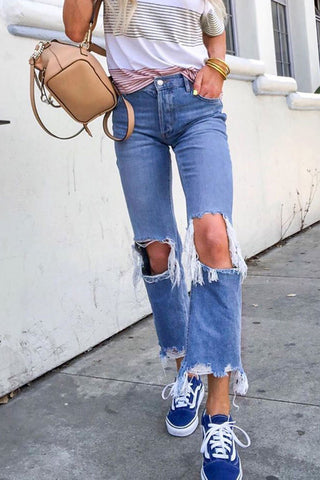 Balanla Distressed Mid Waist Broken Holes Blue Jeans