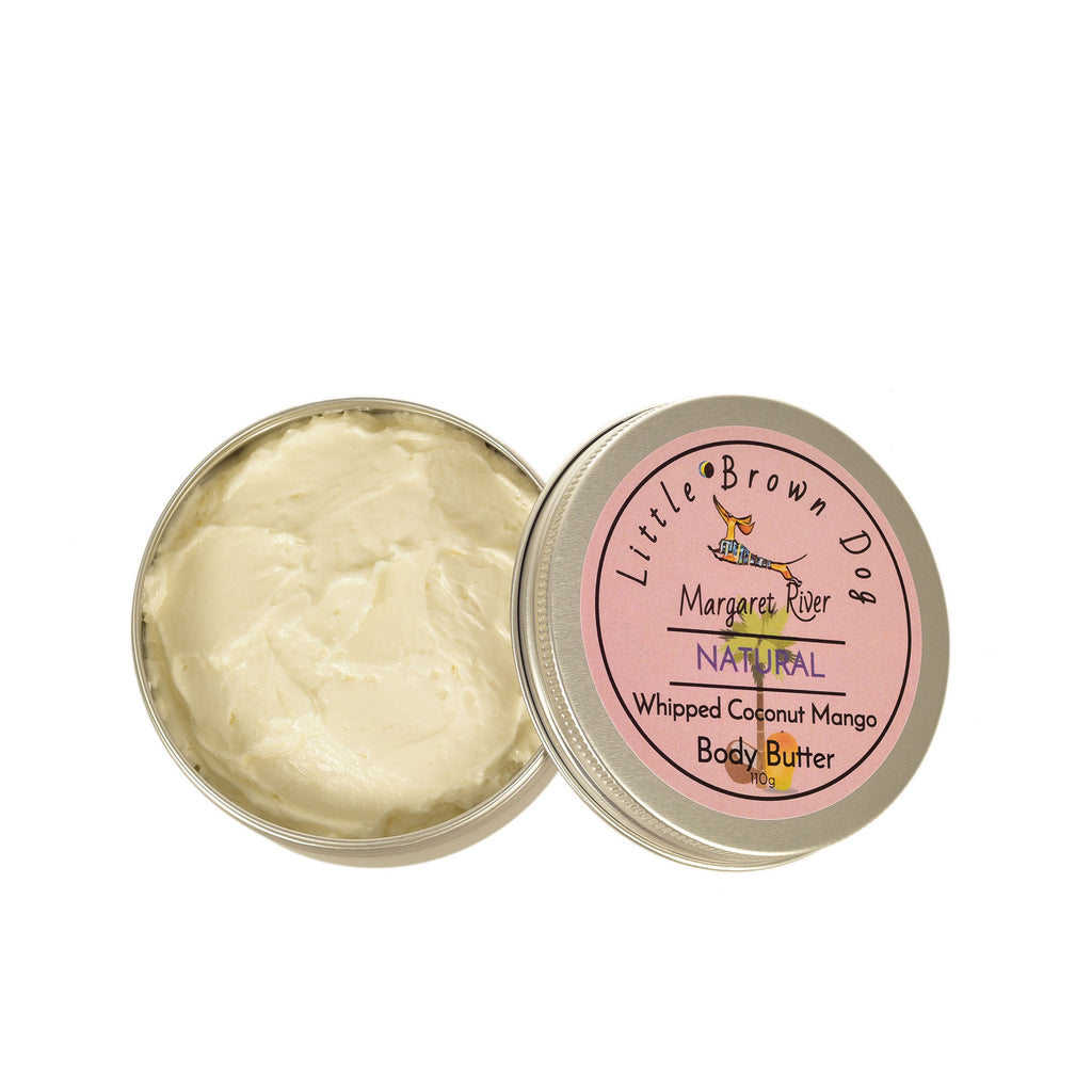 Whipped-Coconut-Mango-Body-Butter-with-lid-off-Lux-Candle-Co-Margaret-River