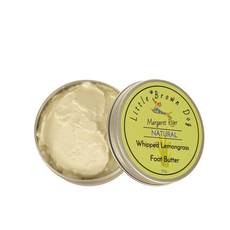 Whipped-Lemon-Myrtle-Foot-Butter-with-lid-off-Lux-Candle-Co-Margaret-River