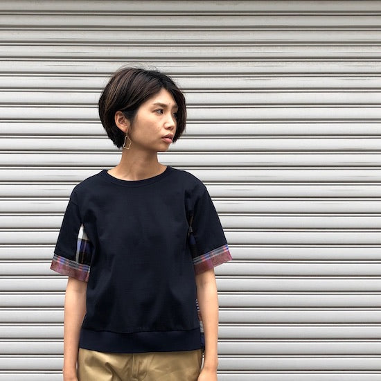 -〔WOMEN'S〕-  WHITE MOUNTAINEERING ホワイトマウンテニアリング  BIG CHECK CONTRASTED V NECK SHIRT