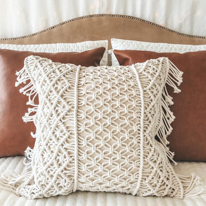 Macrame Fringe Pillow Cover