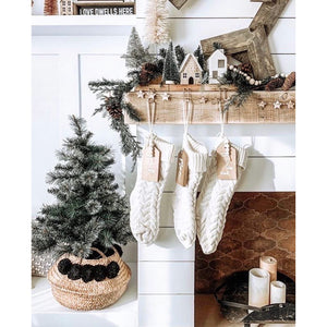 Ivory Knitted Christmas Stocking