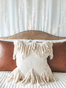 SAMPLE Natural Bohemian Fringe Pillow Cover
