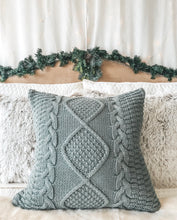 Load image into Gallery viewer, Gray Cable Knit Pillow Cover