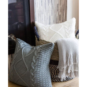 Gray Cable Knit Pillow Cover
