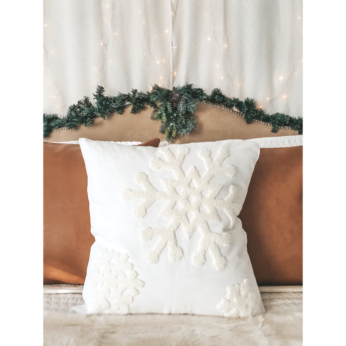 Ivory Embroidered Snowflake Pillow Cover