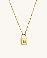 Initial Lock Necklace - Blackletter - Sparklane