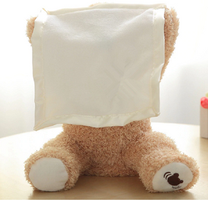 Surface Washable Peek-a-Boo Teddy Bear 4 Random Phrases Which Engage The Child