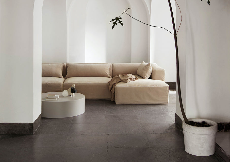Tine K modula sofa with metal drum table