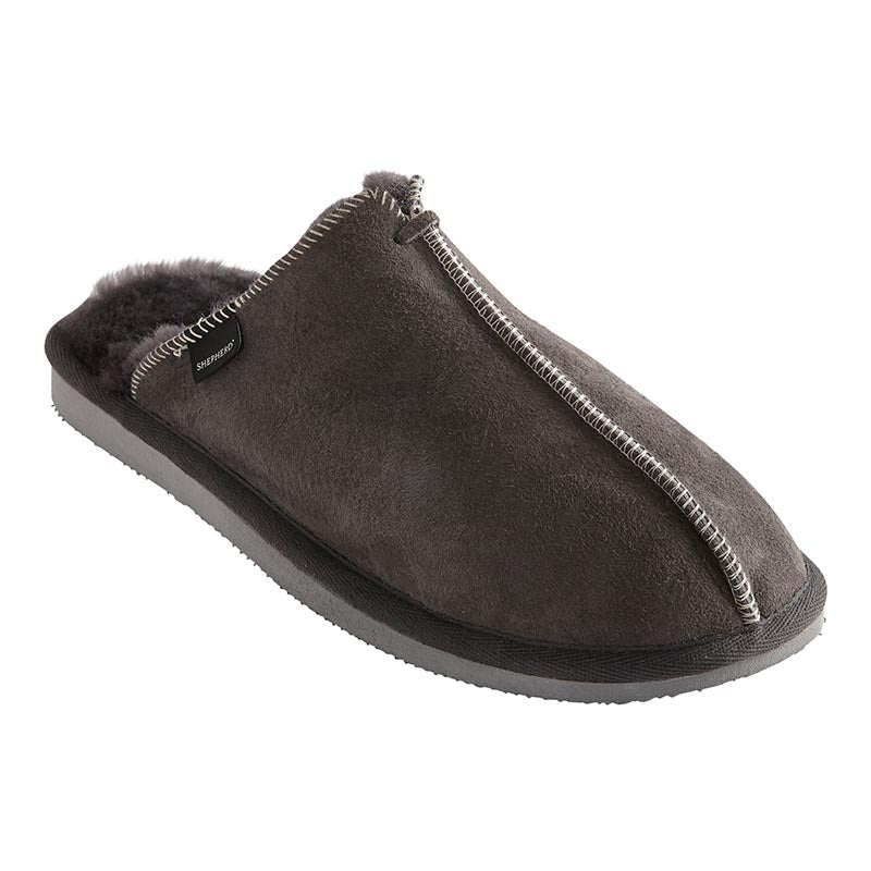 Hugo mens grey sheepskin slippers by Shepherd