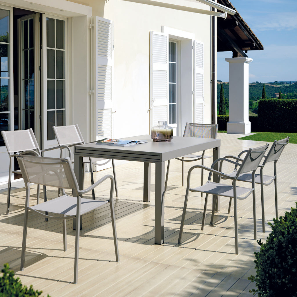grey metal outdoor dining table