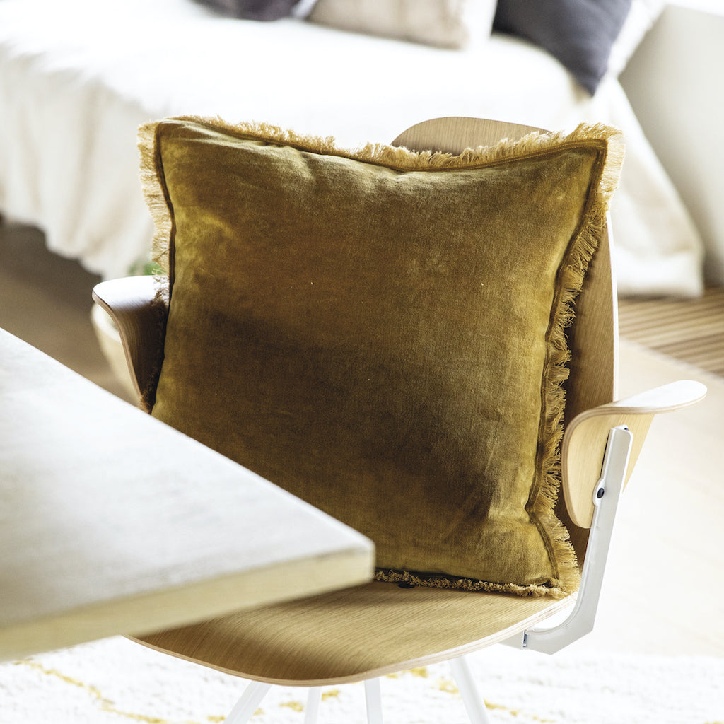 bronze velvet cushion