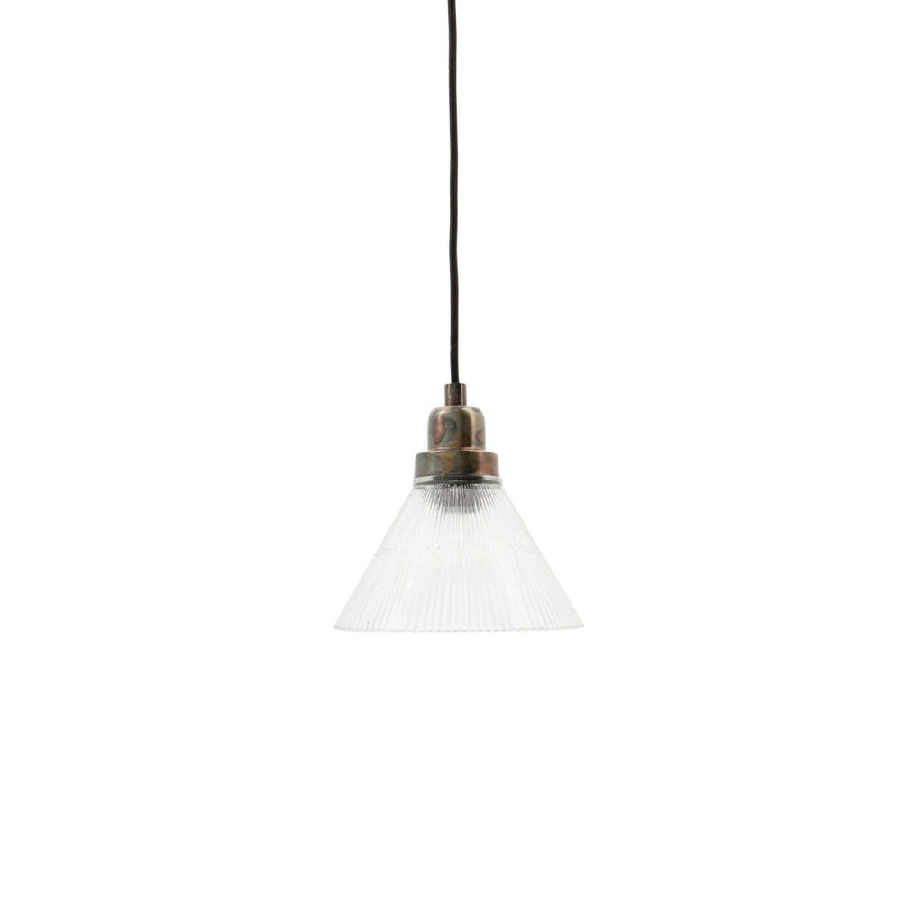 small glass and nickel pendant light