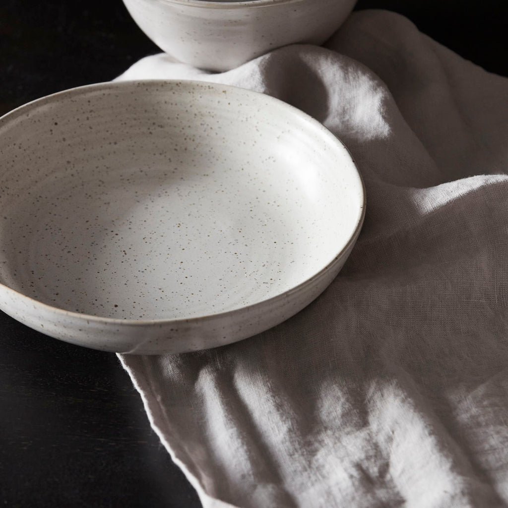 Pion white and grey speckled bowl