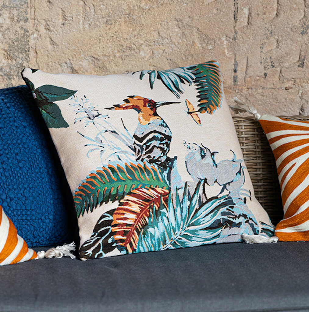 bird printed cushion on jacquard fabric by Vivaraise