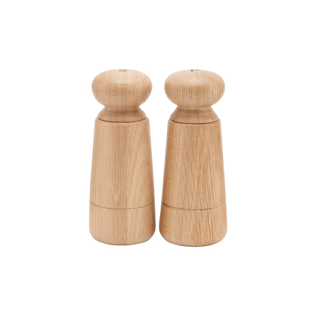 simple and modern oak salt and pepper grinders