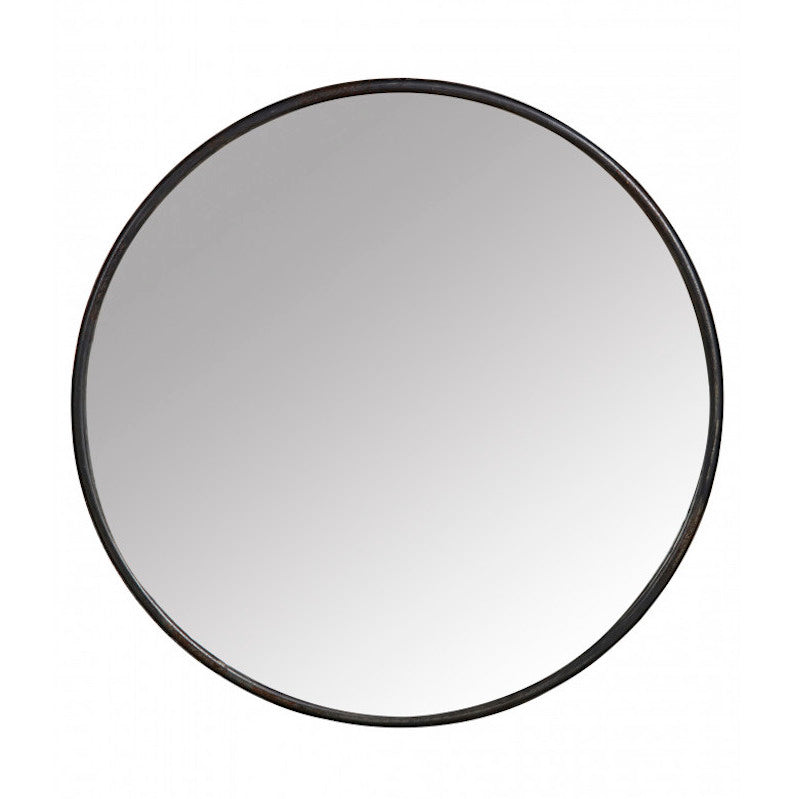 simple black round mirror