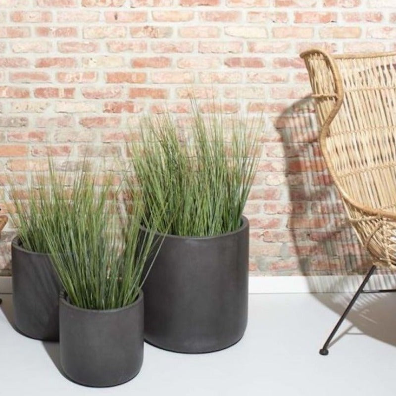 set of three dark grey fibre clay plant pots