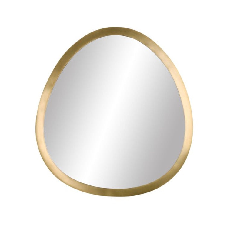 brass mirror with an organic rounded shape