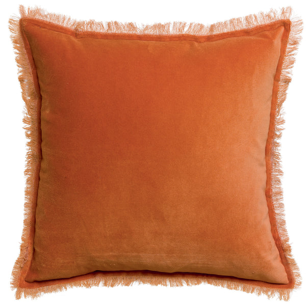 Amber Velet cushion with fringe edges