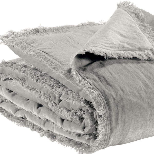 grey velvet throw with fringed edges