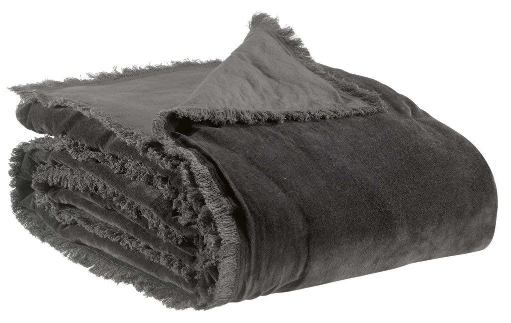 Fara Velvet Throw in Dark Grey