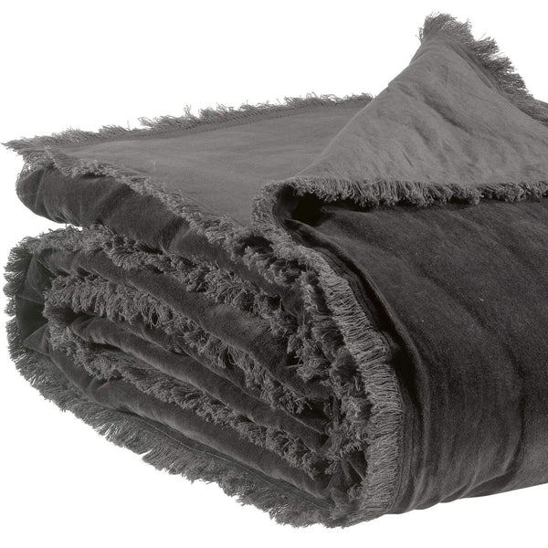 velvet throw in dark grey with fringed edges
