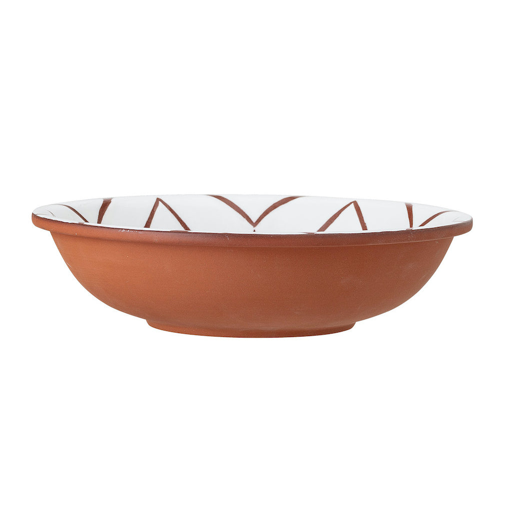 Bloomingville terracotta and white serving bowl