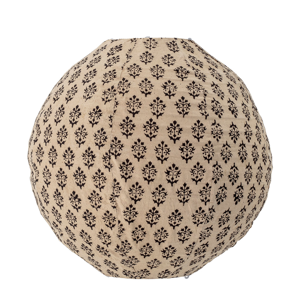 Detail of Indian printed fabric on globe pendant light