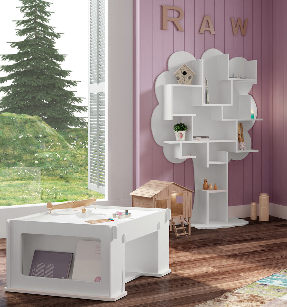 white tree book case