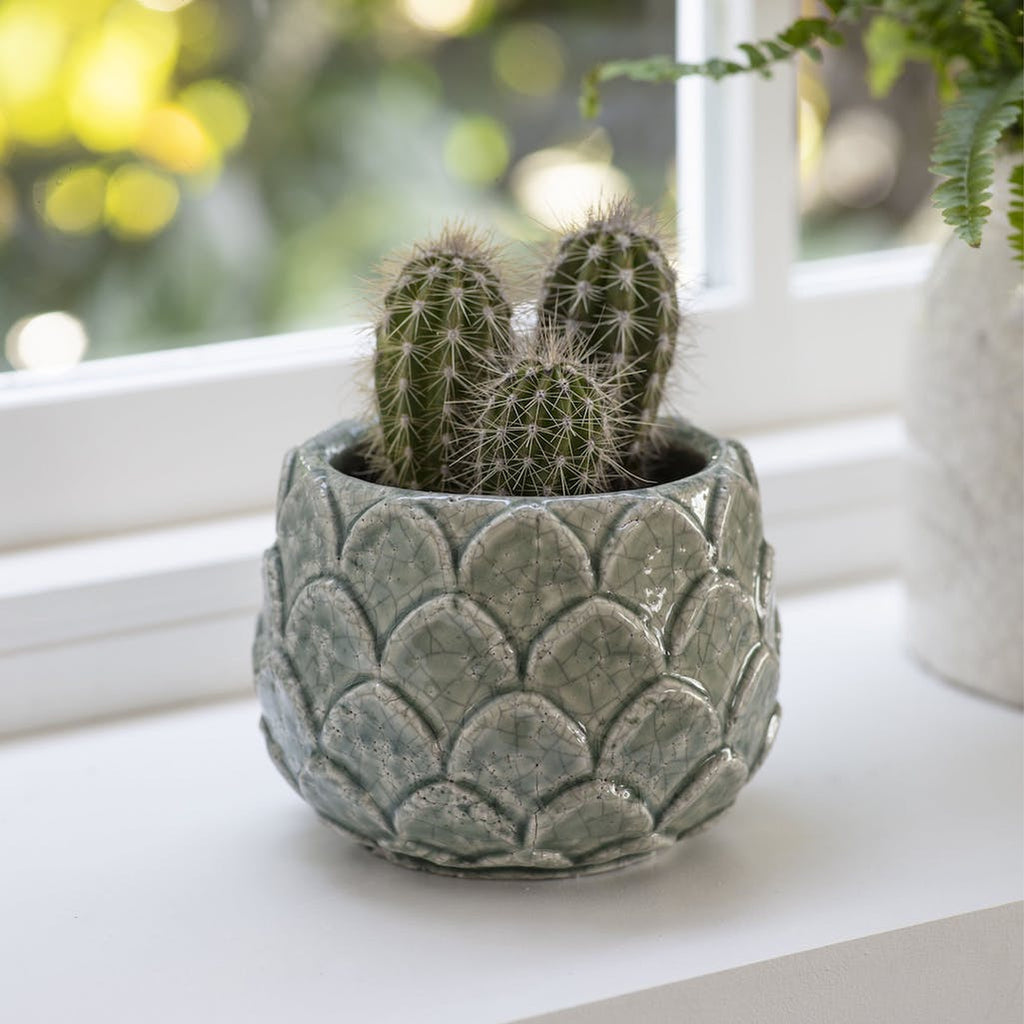 Artichoke shape plant pot aqua green