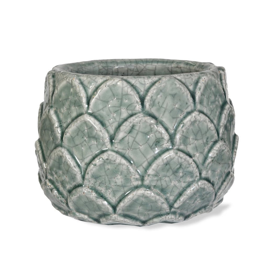 ceramic plant pot in aqua green