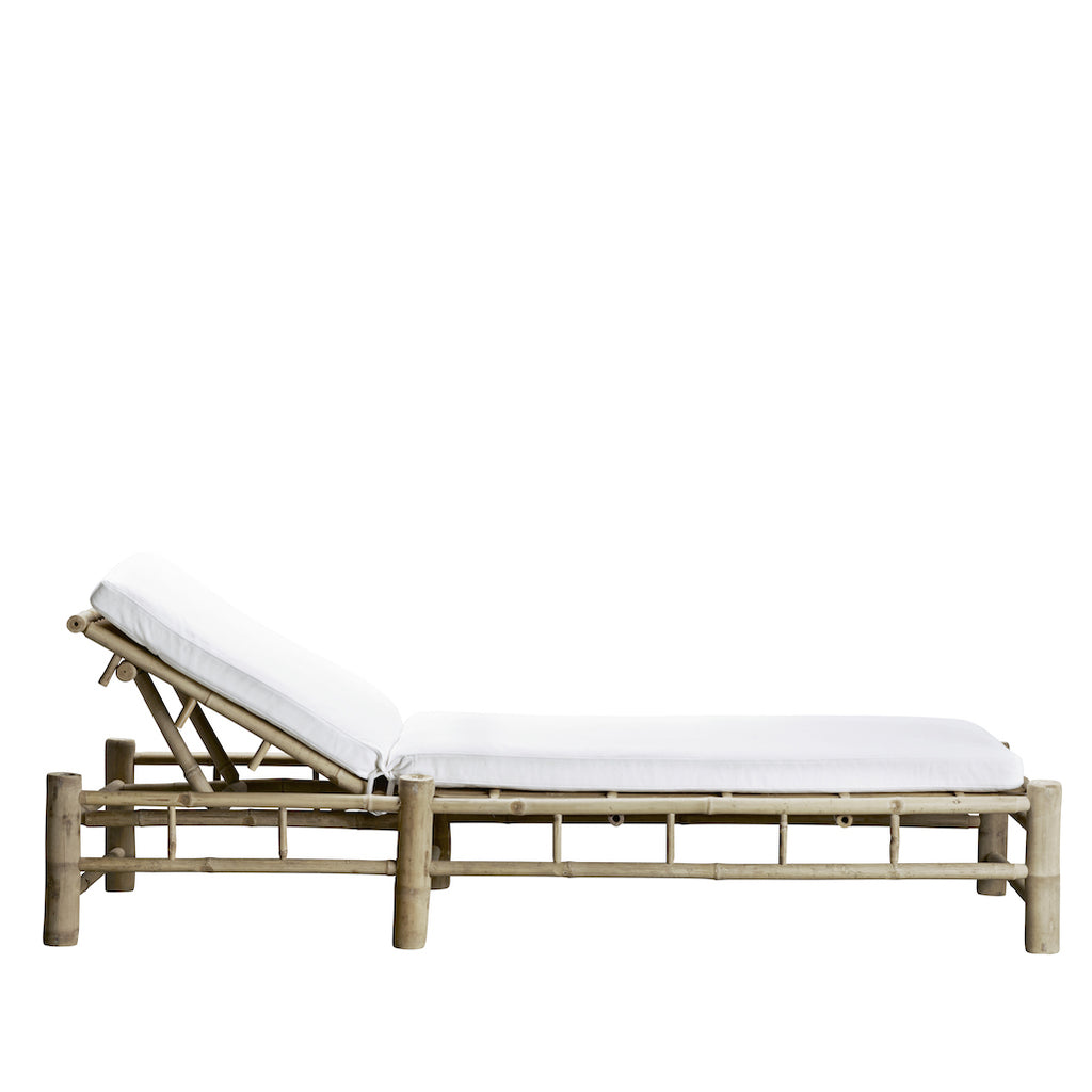 white sun lounger with white cushion