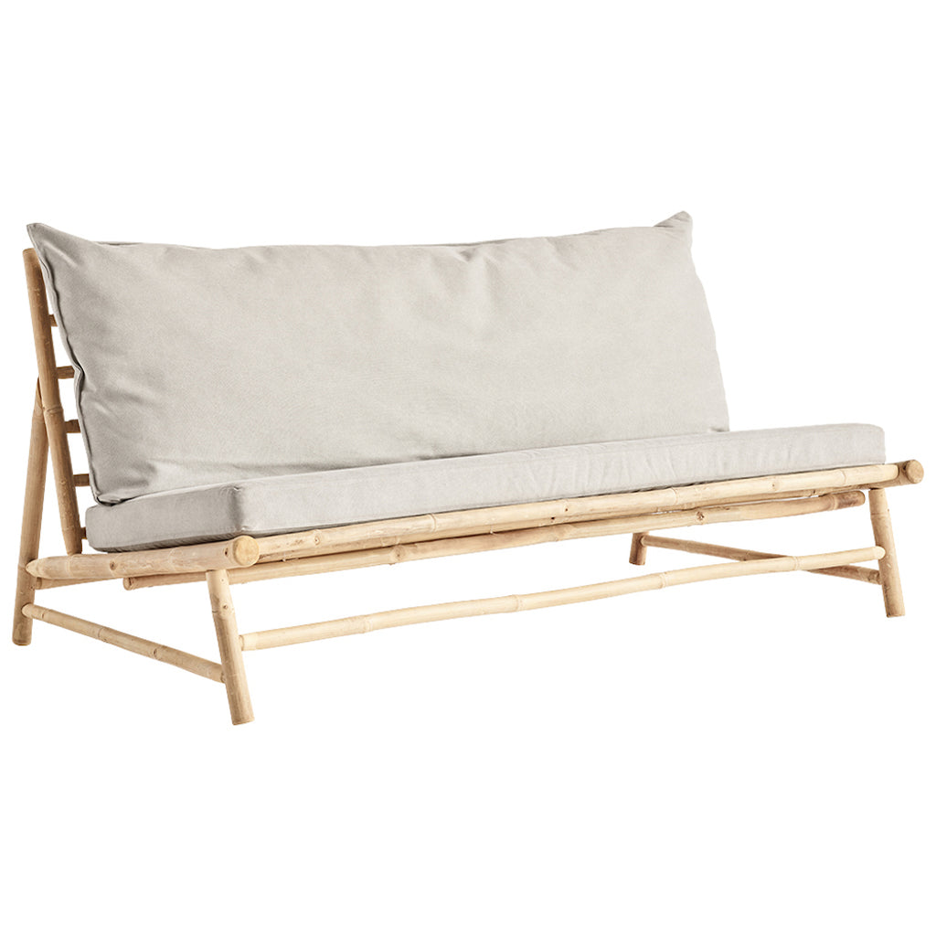 Tine K bamboo sofa with grey cushions