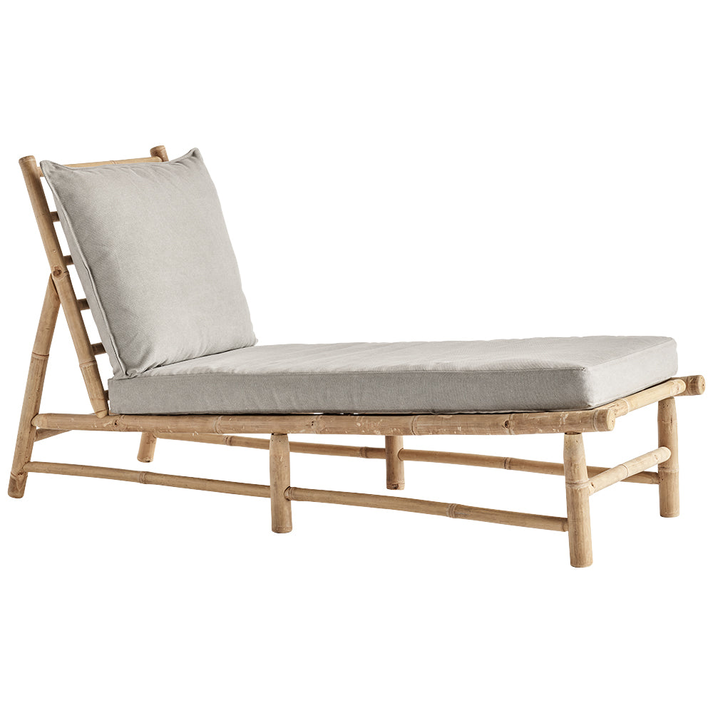 grey sun lounger with bamboo frame