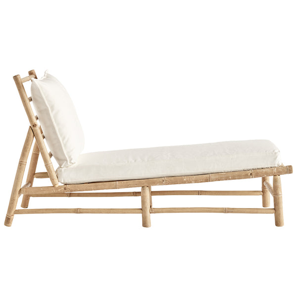 bamboo sun lounger with white cushions
