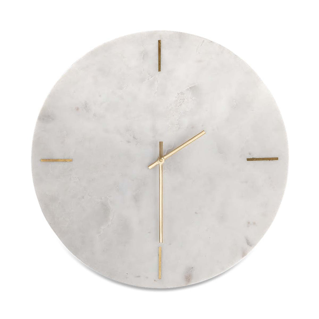 Besa white marble clock with brass hands