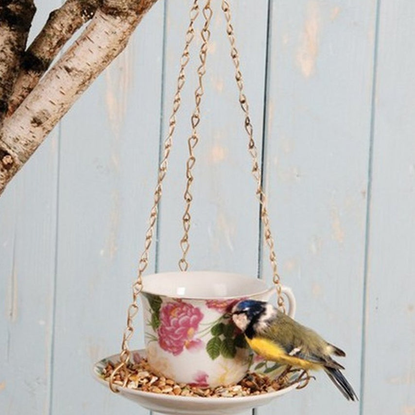 hanging teacup bird feeder