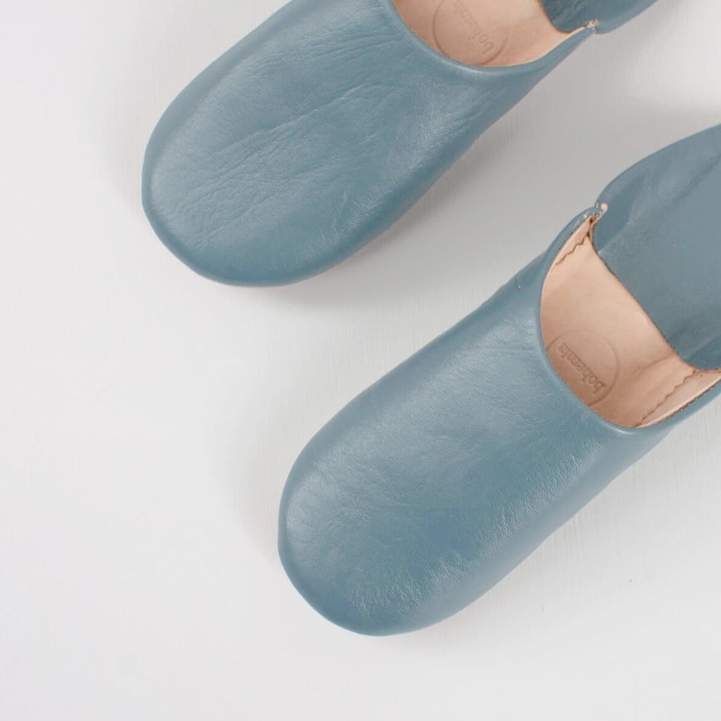 blue leather Babouche slippers