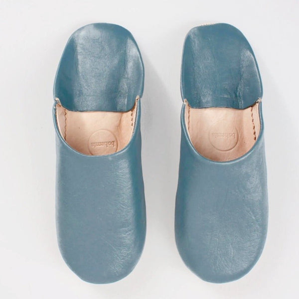 babouche Moroccan leather slippers in blue