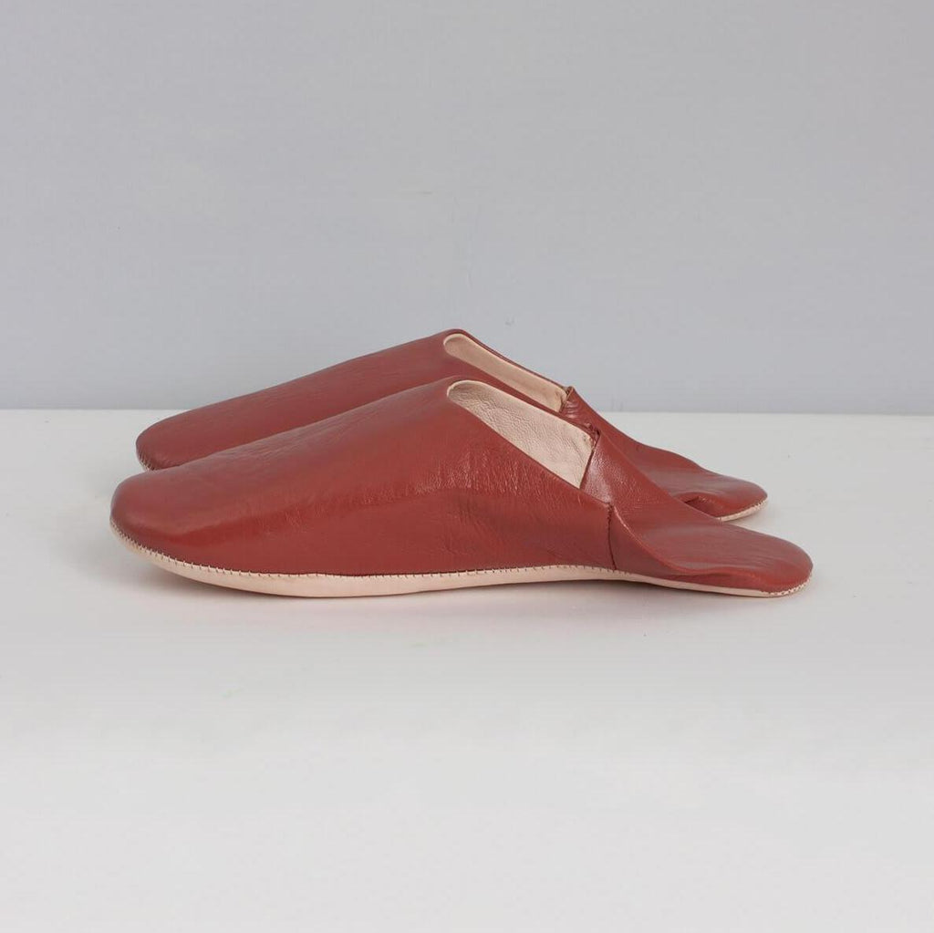 mens Moroccan babouche slippers in terracotta