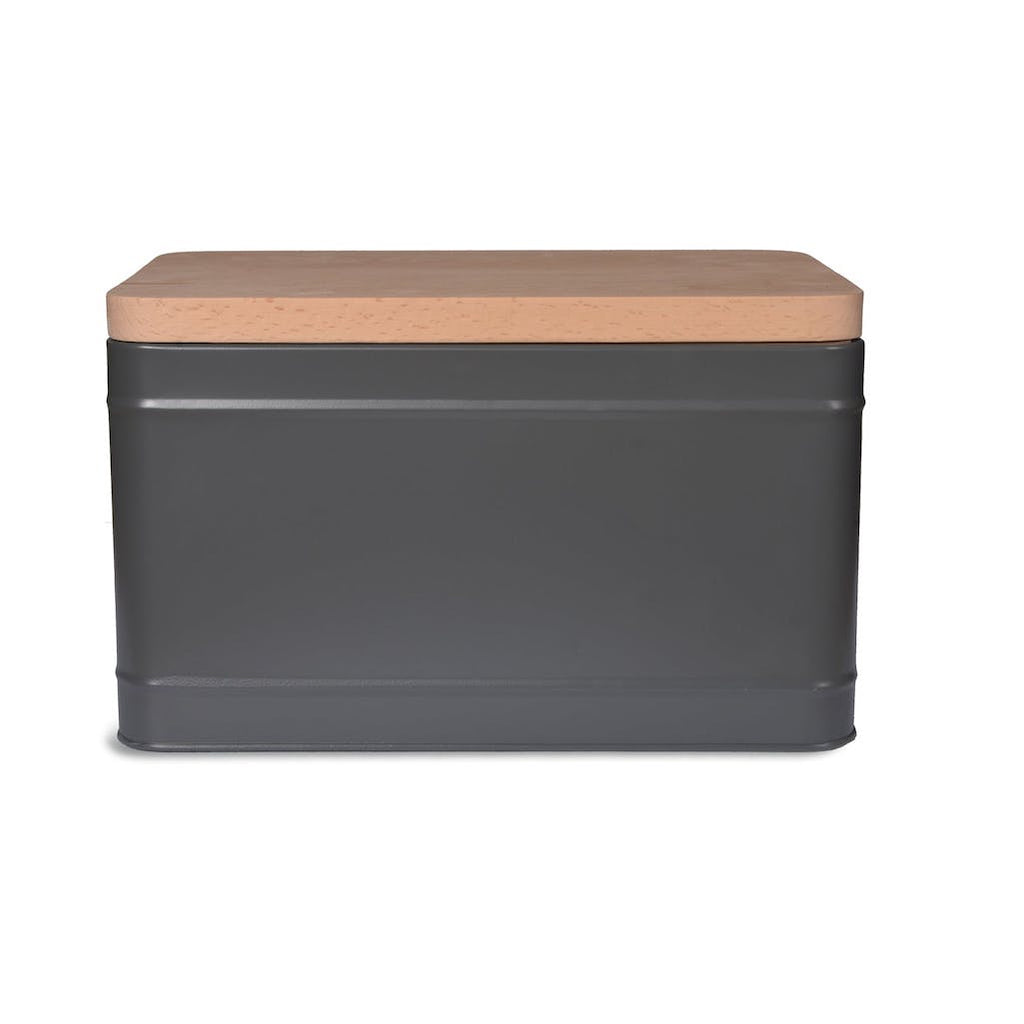 grey bread bin with wooden top