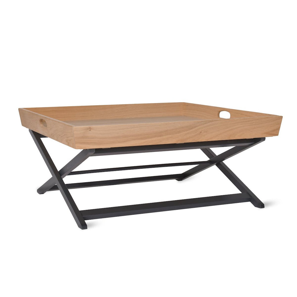 Butlers tray coffee table in oak with black legs