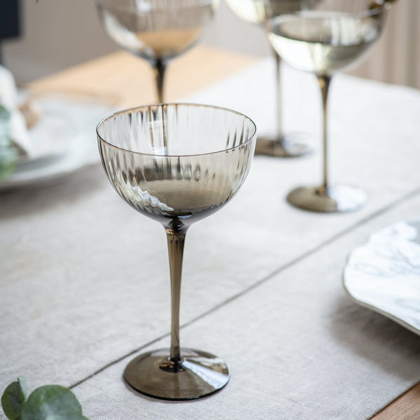 smoke glass champagne glasses set