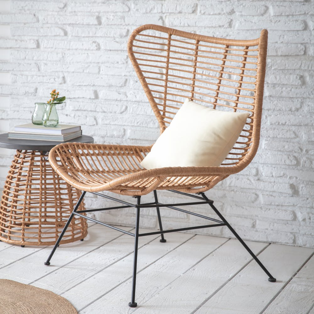 Hampstead winged back bamboo chair garden chair