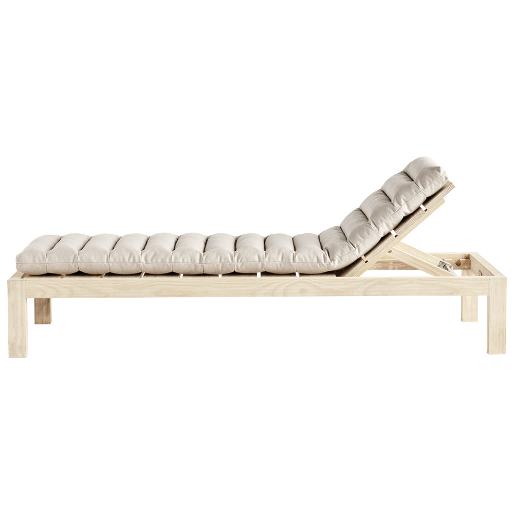 natural pine sun lounger with cushion