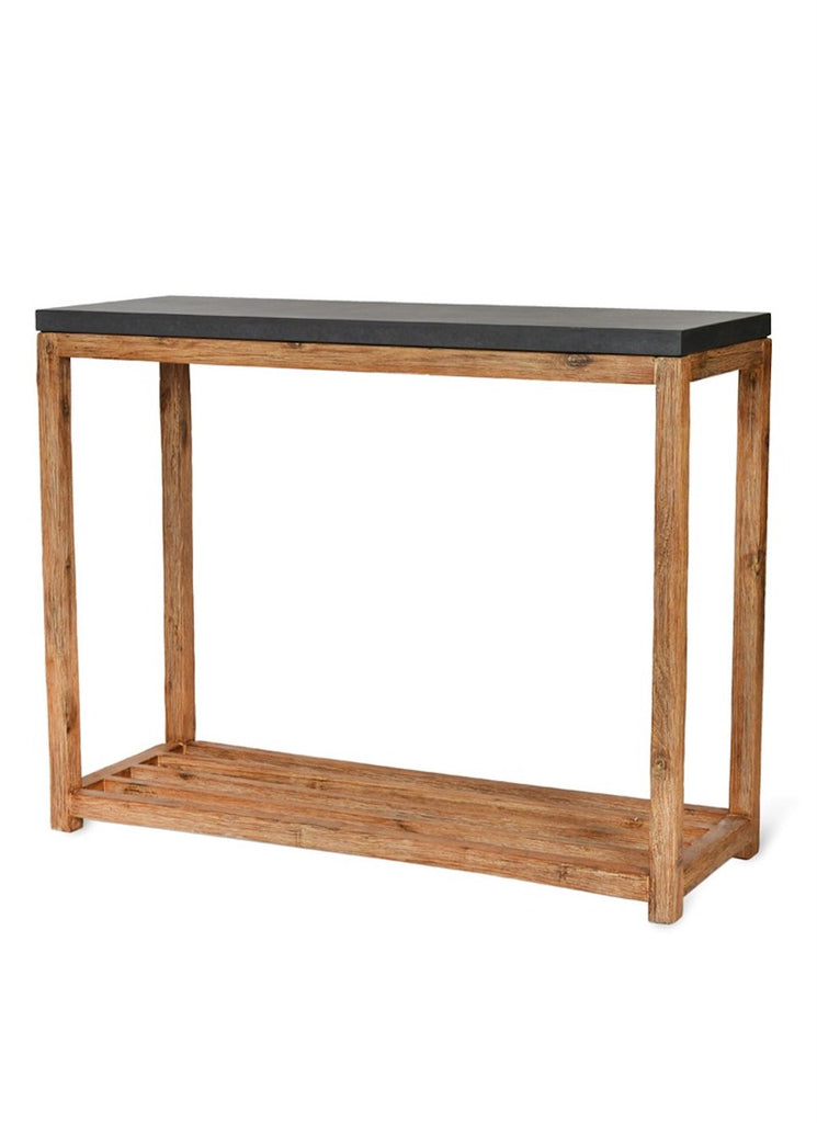 chilson console table with cement top and wooden legs