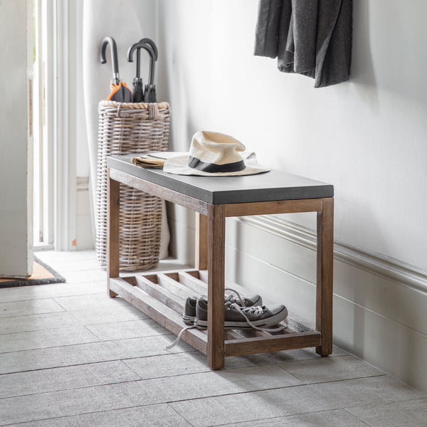 hallway bench with cement top