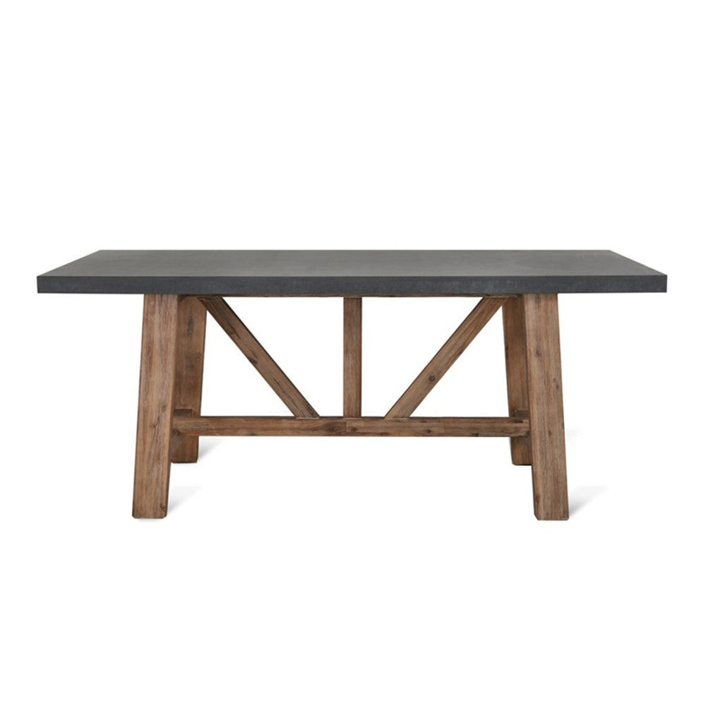 concrete dining table with wooden legs