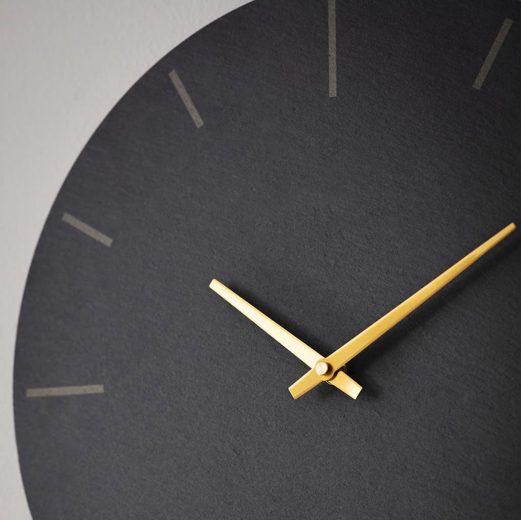 slate wall clock with brass hands